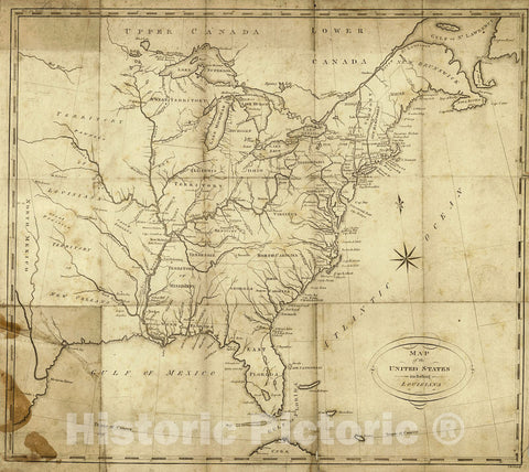 Historic Map : 1818 Map of the United States including Louisiana  : Vintage Wall Art