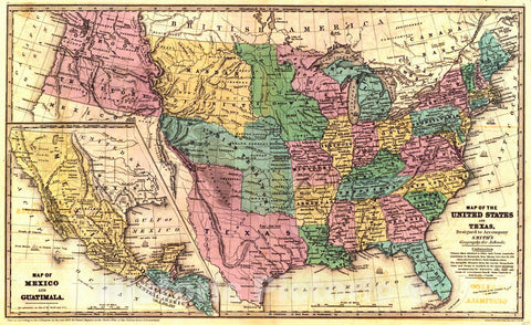 Historic Map : 1839 Map of the United States and Texas : Vintage Wall Art