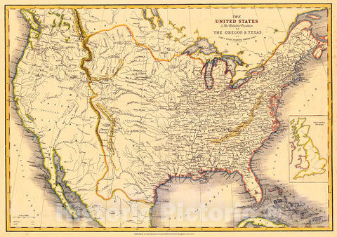Historic Map : 1860 The United States and the Relative Position of the Oregon and Texas : Vintage Wall Art