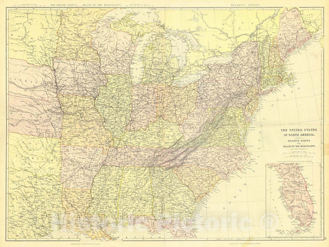 Historic Map : 1870 The United States of the North America. Atlantic States and Valley of the Mississippi : Vintage Wall Art
