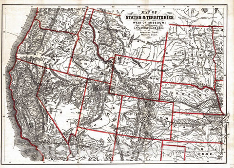 Historic Map : 1872 Map of States & Territories, West of Missouri : Vintage Wall Art