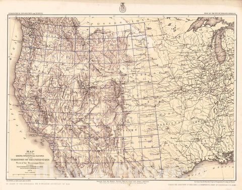 Historic Map : 1875 Map Showing the General Topographical Features of The Territory of the United States West of the Mississippi River  : Vintage Wall Art