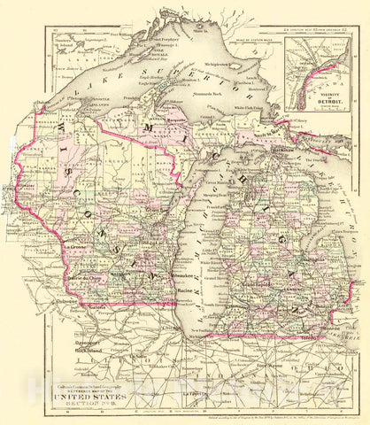 Historic Map : 1874 Reference Map of the United States Section No. 9 [Wisconsin & Michigan] : Vintage Wall Art