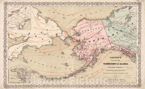 Historical Map, 1868 Colton's map of The Territory of Alaska : (Russian America) ceded by Russia to The United States, Vintage Wall Art