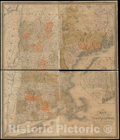 Historical Map, 1834 A map of The New England States : Maine, New Hampshire, Vermont, Massachusetts, Rhode Island & Connecticut, with Parts of New York & Lower Canada, Vintage Wall Art
