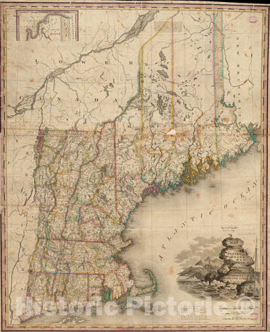 Historical Map, 1831 Map of The States of Maine, New Hampshire, Vermont, Massachusetts, Connecticut & Rhode Island, Vintage Wall Art
