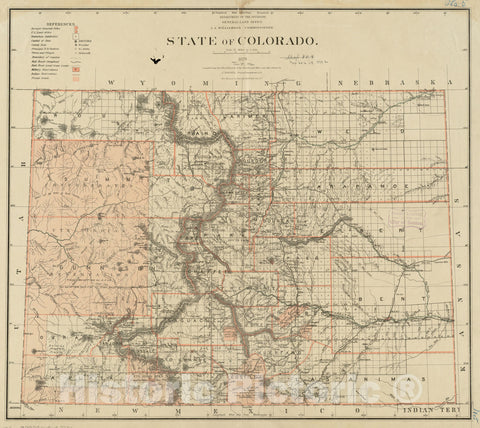 Historical Map, 1879 State of Colorado, Vintage Wall Art