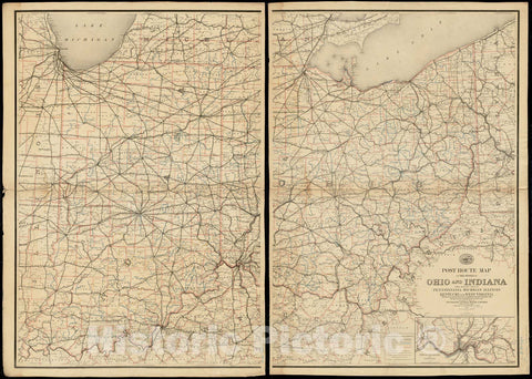 Historical Map, Post Route map of The States of Ohio and Indiana with Adjacent Parts of Pennsylvania, Michigan, Illinois, Kentucky and West Virginia, Vintage Wall Art