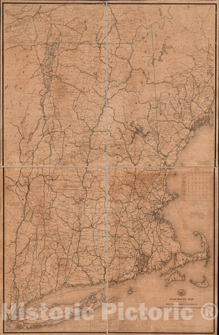 Historical Map, 1866 Post Route map of The States of New Hampshire, Vermont, Massachusetts, Rhode Island, Connecticut, and Parts of New York and Maine, Vintage Wall Art