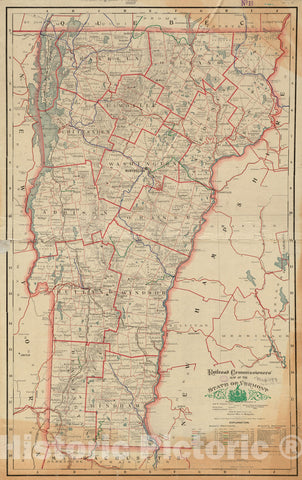 Historical Map, ca. 1908 Railroad Commissioners' map of the State of Vermont, Vintage Wall Art