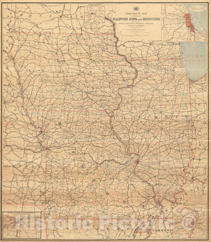 Historical Map, Post Route map of The States of Illinois, Iowa, and Missouri with Adjacent Parts of Indiana, Wisconsin, Minnesota, Nebraska, Kansas and Arkansas, Vintage Wall Art
