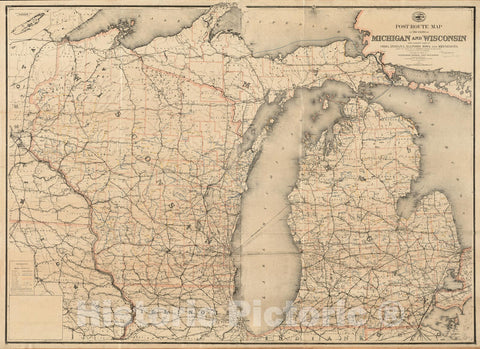 Historical Map, Post Route map of The States of Michigan and Wisconsin with Adjacent Parts of Ohio, Indiana, Illinois, Iowa and Minnesota Showing Post Offices, Vintage Wall Art