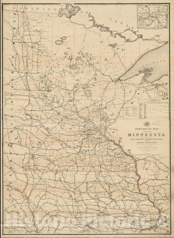 Historical Map, Post Route map of The State of Minnesota with Adjacent Parts of Iowa, Nebraska, Dakota, Wisconsin and of The British Possessions, Showing Post Offices, Vintage Wall Art