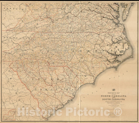 Historical Map, Post Route map of The States of North Carolina and South Carolina with Adjacent Parts of Georgia, Tennessee, Kentucky, West Virginia and Virginia, Vintage Wall Art