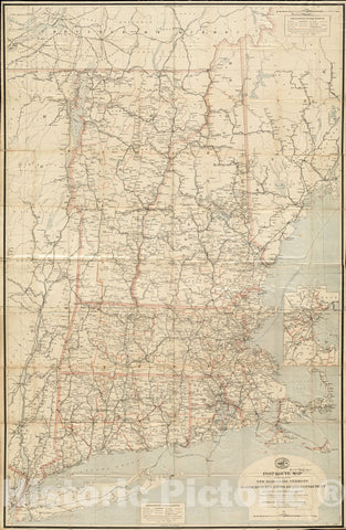 Historical Map, Post Route map of The States of New Hampshire, Vermont, Massachusetts, Rhode Island, Connecticut and Parts of New York and Maine, Vintage Wall Art