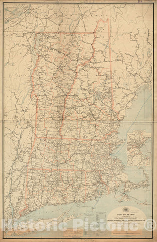 Historical Map, Post Route map of The States of New Hampshire, Vermont, Massachusetts, Rhode Island, Connecticut and Parts of New York and Maine : Showing Post Office, Vintage Wall Art