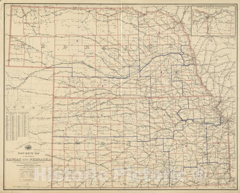 Historical Map, 1895 Post Route map of The States of Kansas and Nebraska Showing Post Offices with The Intermediate Distances and Mail Routes, 1895, Vintage Wall Art