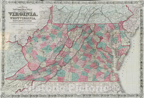 Historical Map, 1880 Colton's New Topographical map of The States of Virginia, West Virginia, Maryland & Delaware and portions of Other adjoining States, Vintage Wall Art