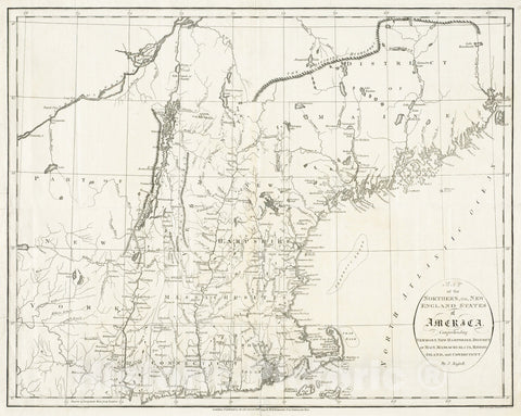 Historical Map, 1795 Map of The Northern, or, New England States of America, comprehending Vermont, New Hampshire, District of Main, Massachusetts, Rhode Island, and Connecticut Reprint