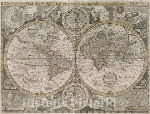 Historical Map, 1656 A new and accurat map of the world drawne according to ye truest descriptions latest discoveries, Vintage Wall Art