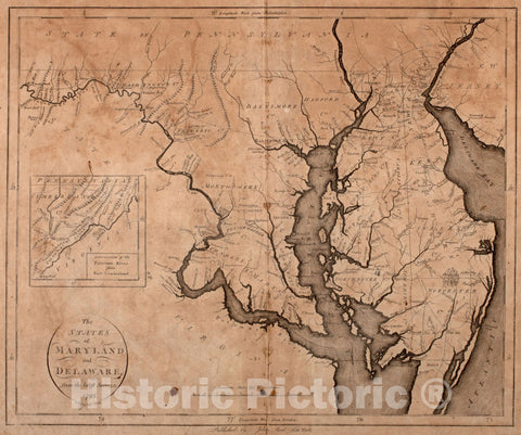 Historical Map, 1796 The States of Maryland and Delaware, from The Latest surveys, Vintage Wall Art