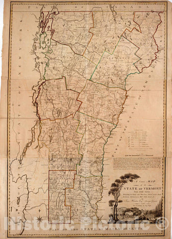 Historical Map, 1796 A Correct map of The State of Vermont from Actual Survey; : exhibiting The County andtown Lines, Rivers, Lakes, Ponds, Vintage Wall Art