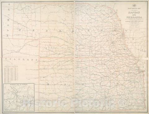 Historic 1900 Map - Post Route Map Of The States Of Kansas And Nebraska : Showing Po - Kansas - Nebraskamaps Of North America. - Vintage Wall Art