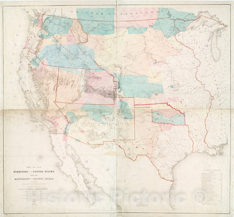 Historic 1857 Map - Map Of The Territory Of The United States From The Mississippi T - West (U.S.) - United Statesmaps Of North America. - Vintage Wall Art