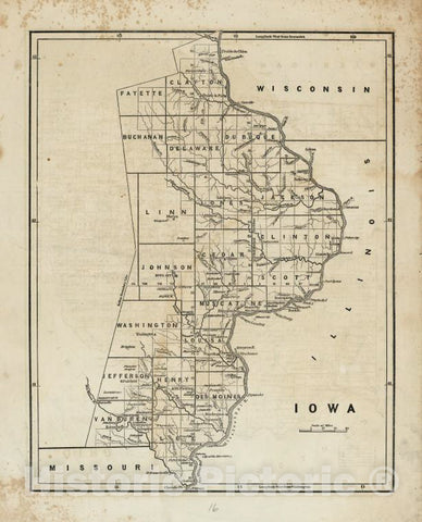 Historic 1842-[1845] Map - Iowa. - United States - Iowa-Atlases Of The United States - Vintage Wall Art