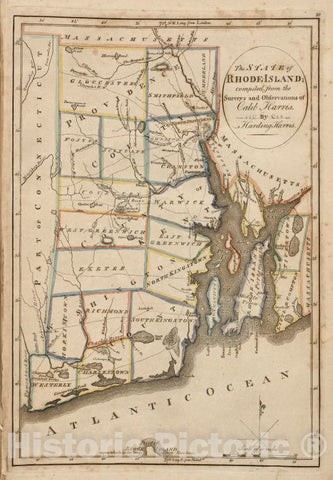 Historic 1814 Map - The State Of Rhode Island. Compiled From The Survey And Observations Of Caleb Harris.- Rhode Island - Vintage Wall Art