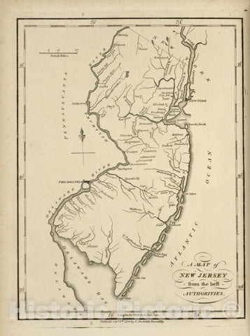 Historic 1794 Map - A Map Of New Jersey, From The Best Authorities. - United States - Vintage Wall Art