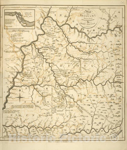 Historic 1794 Map - A Map Of Kentucky, Drawn From Actual Observations By John Filson. - United States - Vintage Wall Art