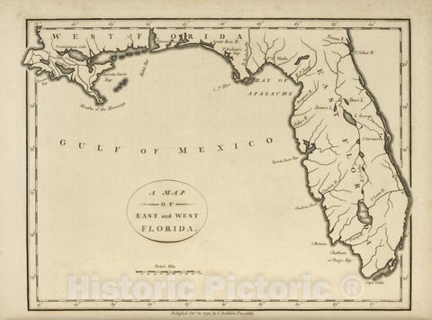 Historic 1794 Map - A Map Of The East And West Florida. - United States - Vintage Wall Art