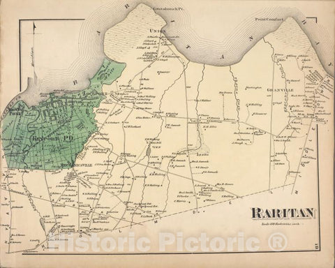 Historic 1873 Map - Raritan [Township] - Monmouth Couty (N.J.) - New Jersey - Monmouth County Atlases Of The United States - Atlas Of Monmouth Co, New Jersey. - Vintage Wall Art