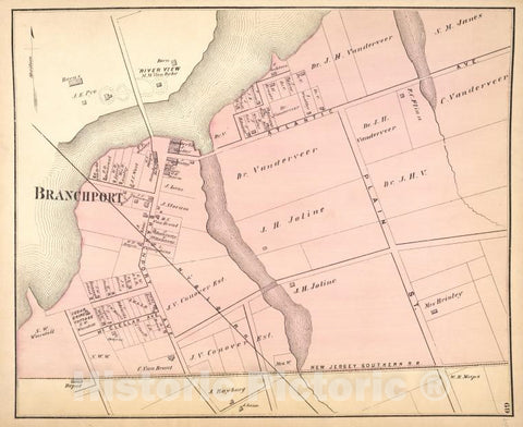 Historic 1873 Map - Branchport [Village] - Monmouth Couty (N.J.) - New Jersey - Monmouth County Atlases Of The United States - Atlas Of Monmouth Co, New Jersey. - Vintage Wall Art