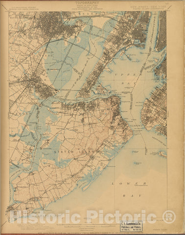 Historic Map - 1899 New Jersey (N.J.), Staten Island, Survey Of 1888-89 And 1897, Ed. Of 1900, Repr. 1908. - Vintage Wall Art