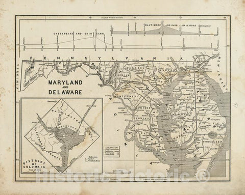 Historic 1842-[1845] Map - Maryland And Delaware. - United States - Delaware - Maps - Maryland - Atlases Of The United States - Vintage Wall Art