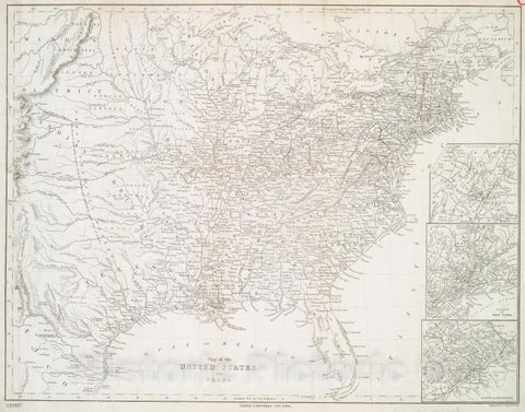 Historic 1844 Map - Map Of The United States And Texas - United States - Texas - Texas - Maps - United States - Maps Of North America. - Vintage Wall Art