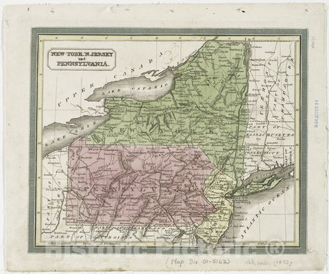Historic 1833 Map - New-York, N. Jersey And Pennsylvania. - New Jersey - Maps - New York (State) - Maps - Pennsylvania - Maps Of North America. - Vintage Wall Art