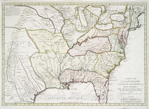 Historic 1744 Map - Carte De La Louisiane Cours Du Mississipi [I.E. Mississippi] Et Pais Voisins - United States - Maps - Early Works To 1800 - Charts And Maps - Vintage Wall Art