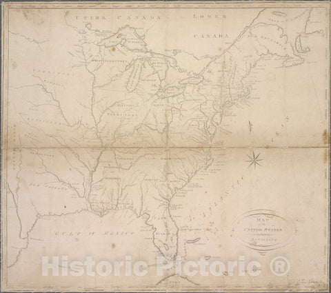 Historic 1810 Map - Map Of The United States Including Louisiana - United States - United States - Maps Of North America. - Vintage Wall Art