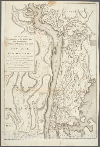 Historic 1793 Map - A Plan Of The Operations Of The King'S Army : Under The Command - New Jersey - New York (State) - Charts And Maps - Vintage Wall Art