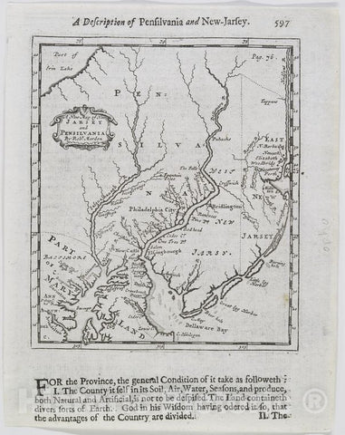 Historic 1700 Map - A New Map Of New Jarsey And Pensilvania. - Middle Atlantic States - New Jersey - Pennsylvania - Charts And Maps - Vintage Wall Art