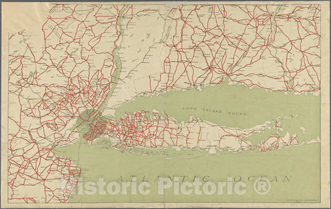 Historic 1916 Map - Map Of Parts Of Connecticut, Long Island, New York State And New Jersey.Of New York City And State - New York City & Vicinity - Vintage Wall Art