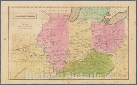 Historic 1830 Map - Western States - Northwest, Old - Kentucky - Ohio - Indiana - Missouri - Illinoismaps Of North America. - Vintage Wall Art