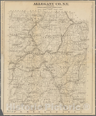 Historic 1875 Map - Allegany Co, N. Y. To Accompany Child'S Gazetteer And Directory - Allegany County (N.Y.) Maps Of New York City And State - Counties - Vintage Wall Art