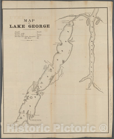 Historic 1853 Map - Map Of Lake George - New York (State) - Lake George (N.Y.) - Champlain, Lakemaps Of New York City And State - Cities And Towns, A-Z - Vintage Wall Art