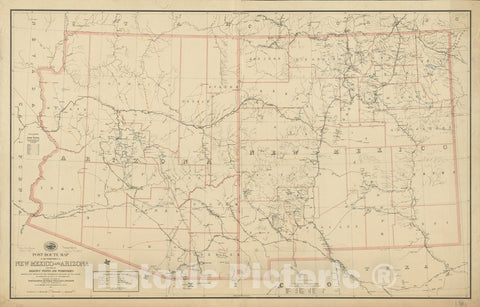 Historical Map, 1884 Post route map of the territories of New Mexico and Arizona with parts of adjacent states and territories showing post offices, Vintage Wall Art : 5131603