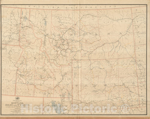 Historical Map, 1891 Post Route map of The States of Montana, Idaho and Wyoming with Adjacent Parts of N. & S. Dakota, Nebraska, Colorado, Utah, Nevada, Oregon, Vintage Wall Art