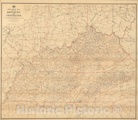 Historical Map, 1891 Post route map of the states of Kentucky and Tennessee with adjacent parts of Va, West Va, Ohio, Ind, Ill, Mo, Ark, Miss, Ala, Ga, Vintage Wall Art